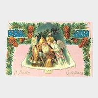 Brown Coat Santa Postcard / Santa and Angel / Santa and Angel in Bell