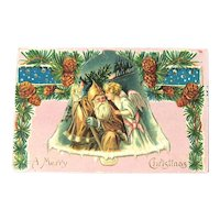 Brown Coat Santa Postcard / Santa and Angel / Santa and Angel in Bell