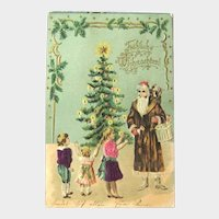 Santa and Children Postcard / Brown Robe Santa / Christmas Tree / Children with Silk Clothing