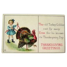 Thanksgiving Postcard / Turkey on Leash / Girl with Turkey / Vintage Ephemera