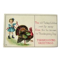 Unused Thanksgiving Postcard / Turkey on Leash / Girl with Turkey / Vintage Ephemera