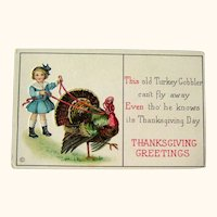 Unused Thanksgiving Postcard / Turkey on Leash / Girl with Turkey / Vintage Ephemera