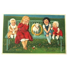 Easter Postcard / A Joyful Easter / Little Girls on Bench / Lamb with Wreath