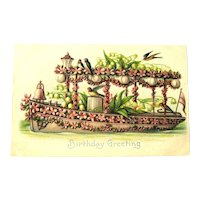 Birthday Greeting Postcard / Boat Covered in Flowers / Vintage Postcard