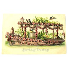 Birthday Greeting Postcard / Boat Covered in Flowers / Vintage Postcard