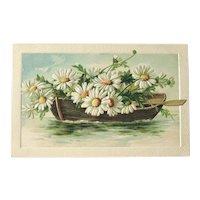 Unused Vintage Postcard / Row Boat with Daisies / Vintage Ephemera