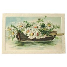 Unused Vintage Postcard / Row Boat with Daisies / Vintage Ephemera