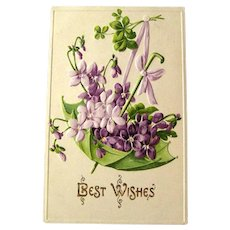 Postcard with Umbrella and Violets / Unused Vintage Postcard / Best Wishes