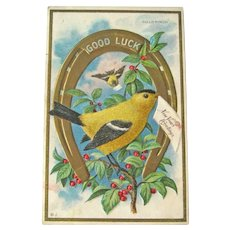 New Year Postcard / Goldfinch / Gold Horseshoe / New Year Letter