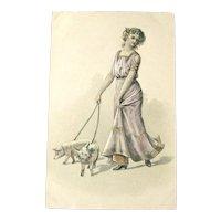 Art Nouveau Postcard / Elegant Lady / Pigs on Leash / New Year Postcard
