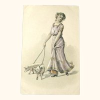 Art Nouveau Postcard / Elegant Lady / Pigs on Leash / New Year Postcard
