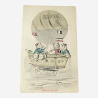 New Year Postcard / Bonne annee / Pigs in Hot Air Balloon / French Postcard
