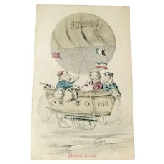 New Year Postcard / Bonne annee / Pigs in Hot Air Balloon / French Postcard