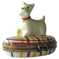 Westie Dog Limoges Box / Limoges France / Hand Painted Box