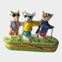 Three Blind Mice Limoges Box / Artoria Limoges France / Trinket Box / Hand Painted Box