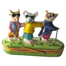 Three Blind Mice Limoges Box / Artoria Limoges France / Trinket Box / Hand Painted Box