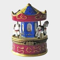 Limoges Box Carousel / Rochard Limoges Box / Horses on Carousel / Limoges France