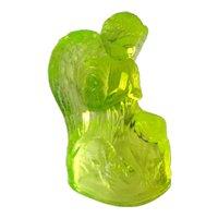 Boyd Crystal Art Glass Angel / Vaseline Color / Angel Figurine / Elizabeth Degenhart / Holiday Angel / Praying Angel