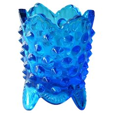 Fenton Colonial Blue Toothpick Holder / Blue Hobnail Toothpick Holder / Footed Toothpick Holder