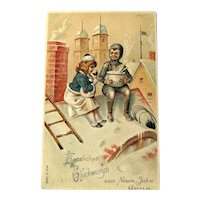 German New Year Postcard / Chimney Sweeper / New Year Punch / Vintage Ephemera