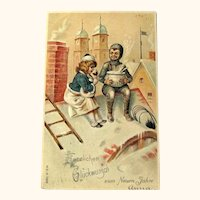 German New Year Postcard / Chimney Sweeper / New Year Punch / Vintage Ephemera