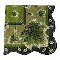 Ladies Hankie / Large Green Handkerchief / Leaf Pattern Hankie / Vintage Handkerchief