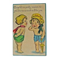 Cute Kids Postcard / Little Boy and Girl / Flirting Card / Valentine Card