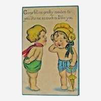 Cute Kids Postcard / Little Boy and Girl / Flirting Card / Valentine Card