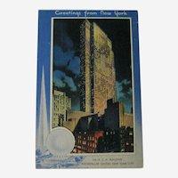 Unused Postcard New York Worlds Fair / 1939 Fair / Rockefeller Center / RCA Building / Trylon and Perisphere
