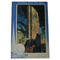 Unused Postcard New York Worlds Fair / 1939 Fair / Rockefeller Center / RCA Building / Trylon and Perisphere