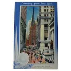 Unused Postcard New York Worlds Fair 1939 / Wall Street / Trinity Church / New York City / Trylon and Perisphere
