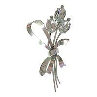 Coro Flower Pin / Designer Pin / Rhinestone Pin / Mid-Century Jewellery / Mid Century Jewelry