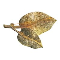 Nettie Rosenstein Trembler Leaf Pin / Designer Pin / Signed Brooch