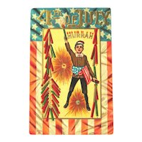 Unused Fourth of July Postcard / Boy with Firecrackers / American Flag / Vintage Ephemera