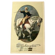 George Washington Postcard / Washington on Horse / Winsch Postcard / Memorial Postcard / Vintage Ephemera