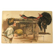 Thanksgiving Postcard / Boy with Football / Artist H.B. Griggs  / Holiday Postcard / Vintage Ephemera
