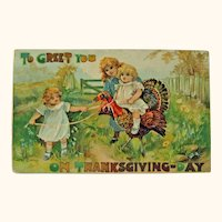 Thanksgiving Postcard / Little Girls / Turkey / Vintage Ephemera