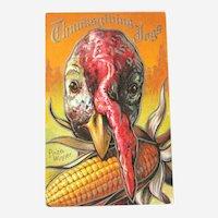 Thanksgiving Postcard with Turkey / Turkey with Corn Cob / Vintage Ephemera