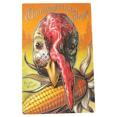 Thanksgiving Postcard with Turkey / Turkey with Corn Cob / Vintage Ephemera
