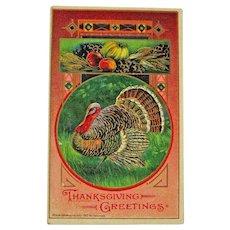 Art Deco Thanksgiving Postcard / Turkey Postcard / Vintage Ephemera
