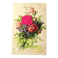 Bouquet of Flowers Postcard / Silk Rose / Roses and Violets / Vintage Ephemera