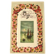 Unused Winsch Postcard / Sailboat Scene / How Are You Postcard / Vintage Ephemera