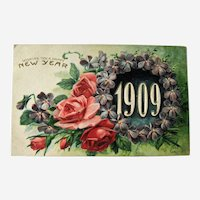 Unused New Year Postcard / 1909 New Year / Roses and Violets l / Collectible Postcard / Vintage Ephemera