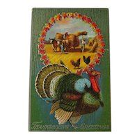 Thanksgiving Greetings Postcard / Harvesting Hay / Bailing Hay / Turkey and Chickens / Vintage Ephemera