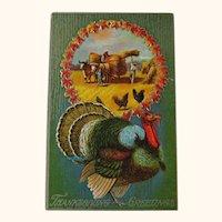 Thanksgiving Greetings Postcard / Harvesting Hay / Bailing Hay / Turkey and Chickens / Vintage Ephemera