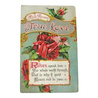 Red Roses True Love Postcard / Vintage Roses Postcard / Vintage Ephemera