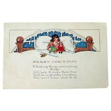 Merry Christmas Postcard Girl with Dolls / Whitney Postcard / Vintage Ephemera