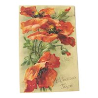 Red Poppies Postcard / C Klein Art / Signed Postcard / Vintage Ephemera