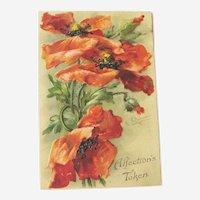 Red Poppies Postcard / C Klein Art / Signed Postcard / Vintage Ephemera