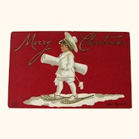 Ellen Clapsaddle Christmas Postcard / Boy on Snowshoes / Vintage Ephemera